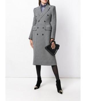 двубортное клетчатое пальто...